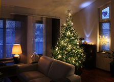 Christmas tree in modern living room Royalty Free Stock Image