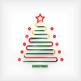 Christmas tree modern minimal line art background Stock Photo