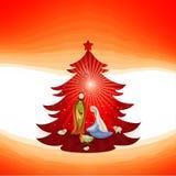 Christmas tree with modern nativity scene on red background. Scene of Bethlehem royalty free illustration