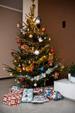 Christmas tree in modern room Stock Images