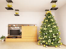 Christmas tree in modern room interior 3d Stock Images