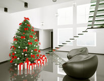Christmas tree in the modern room interior 3d Stock Image