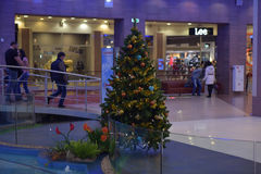 Christmas tree in a modern shopping complex Stock Photo