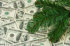 Christmas tree and money. Holiday background Royalty Free Stock Image