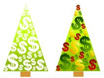 Christmas Tree Money Dollar Signs. A clip art illustration of 2 Christmas trees made up of dollar signs - in plain white and green or colorful stock illustration