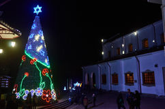 Christmas tree in Monserrate. BOGOTA, COLOMBIA - JANURAY 6, 2015: A beautiful Christmas tree at the top of the hill Monserrate, in Bogota royalty free stock images
