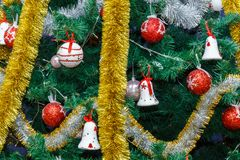 Christmas tree, Christmas moods. The dressed up New Year tree, a New Year`s decor, New Year`s toys stock images