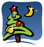 Christmas tree and moon Royalty Free Stock Photos