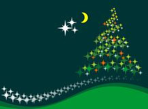 Christmas tree and moon Royalty Free Stock Image