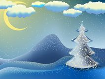 Christmas-tree in a moon night. EPS 8 Royalty Free Stock Photo