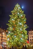 Christmas tree and Moon in Strasbourg - Alsace. France Stock Images