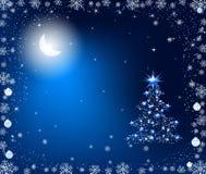 Christmas tree in the moonlight vector illustration