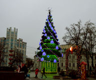 Christmas tree, Moscow. MOSCOW - DECEMBER 29, 2013: Christmas tree on Arbatskaya square Royalty Free Stock Images