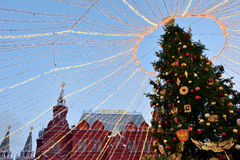 Christmas tree in Moscow, Russia Royalty Free Stock Image