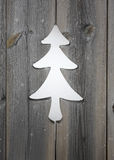 Christmas tree motif in wooden shutter boards Stock Photo