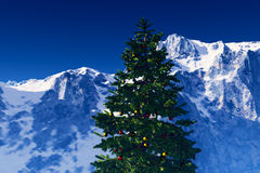 Christmas Tree in the Mountains Royalty Free Stock Photography