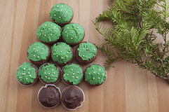Christmas Tree Muffins. Home made Christmas Tree Muffins Stock Photo