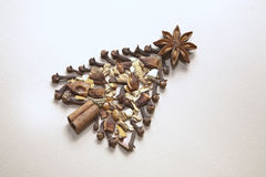 Christmas Tree of mulled wine spices Royalty Free Stock Image