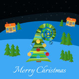 Christmas tree with multi-colored toys. Christmas tree in the village at night vector illustration