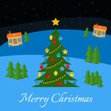 Christmas tree with multi-colored toys and garland. Royalty Free Stock Photo