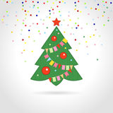 Christmas tree. With multicolored confetti vector illustration