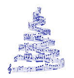 Christmas tree from music notes Royalty Free Stock Photography