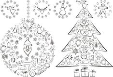 Christmas Tree Nad Balls Stock Images