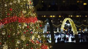 Christmas tree at Nathan Phillips square. View of Christmas tree at Nathan Phillips square in Toronto, ON Stock Image
