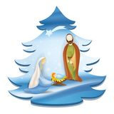 Christmas tree nativity scene with holy family - Jesus, Mary, Joseph, star comet on elegant blue background Stock Photos