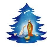 Free Christmas Tree Nativity Scene With Holy Family On Blue Background. Bethlehem Royalty Free Stock Photos - 130705068