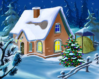 Christmas Tree Near A Small Cottage At New Year Eve Stock Photo