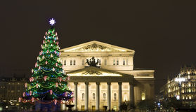 Christmas tree near Big theatre, Moscow Stock Photos