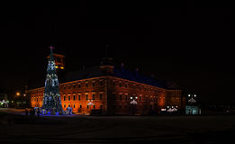 Christmas tree near Castle Square, Warsaw, Poland Royalty Free Stock Photography