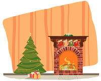 Christmas tree near a fireplace. The room is a Christmas tree with gifts by the fireplace. Vector illustration Royalty Free Stock Photo