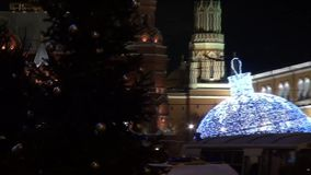 Christmas tree near the Kremlin at the time of the opposition rally in support of Navalny stock footage