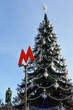 Christmas tree near monument to great Russian poet Alexander Pushkin Royalty Free Stock Image