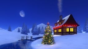 Christmas tree near mountain cabin at night Stock Photos