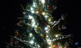Christmas Tree. Near museum. Wearing unusual decorations Royalty Free Stock Photo