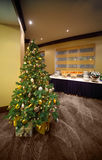 Christmas tree near table with cold snacks in hall Stock Photos