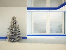 Christmas tree near the window Royalty Free Stock Photography