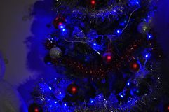 Christmas tree in neon Royalty Free Stock Images