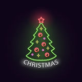 Christmas tree in neon light. Neon sign. Concept design greeting card, poster or banner. Stock Images