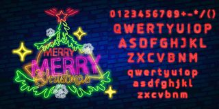 Christmas tree neon sign, bright signboard, light banner. New Year logo, emblem and label. Neon sign creator. Neon text edit vector illustration
