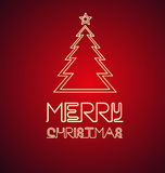 Christmas tree neon sign. Red background with Christmas tree neon sign Royalty Free Stock Photography