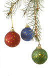 Christmas tree new 3. Christmas ornaments hanging  on white background with clipping path Stock Image