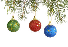 Christmas tree new 4. Christmas ornaments hanging  on white background Stock Photos