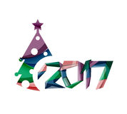 Christmas tree, New Year banner elements. With white space for text Royalty Free Stock Photography