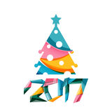 Christmas tree, New Year banner elements. With white space for text Royalty Free Stock Images