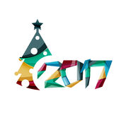 Christmas tree, New Year banner elements. With white space for text Royalty Free Stock Photos