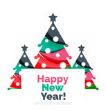 Christmas tree, New Year banner elements. With white space for text Stock Photos